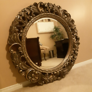 Gorgeous Round Wall Mirror Large Beveled Gold