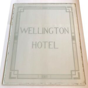 Rare Antique Wellington Hotel Guelph Advertising Glass Sign