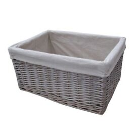 Brand new large grey/white wicker storage baskets