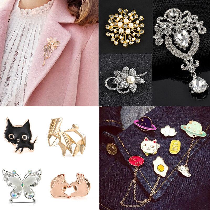 Women Cute Animal Crystals Wedding Brooch Multi-theme Bouque