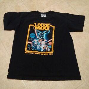 Boys Youth Large Pun Star Wars Black T-Shirt