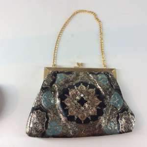 Genuine Florentine Leather Gold/Silver-toned Evening Coin Purse