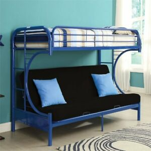 Acme Furniture Eclipse Twin Over Full And Futon Bunk Bed In Navy