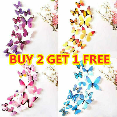 Home Decoration - 12pcs 3D Decal Colourful Butterflies Wall Stickers Home Room Decoration Kids DIY