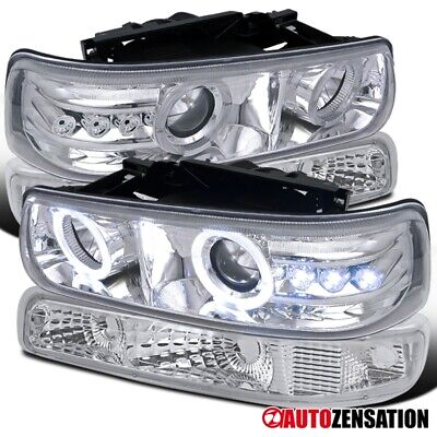 Fits 1999-2002 Chevy Silverado Clear LED Halo Projector Headlights+Bumper Lamps