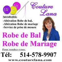Couturière robe Mariage, robe de Bal, mariée, soirée, altération