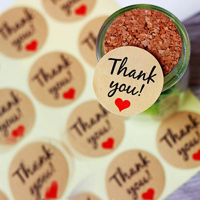60pcs Kraft Thank You Heart Paper Round Sticker Label Seal For Envelope Decor