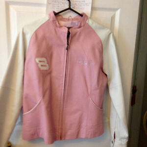 beautiful Leather pink and white Dale Earnharot Jr, coat,