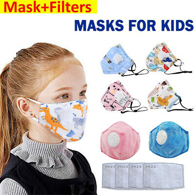 Kids Breathable Mask Face Mouth Nose Respirator & Activated Carbon Filters UK