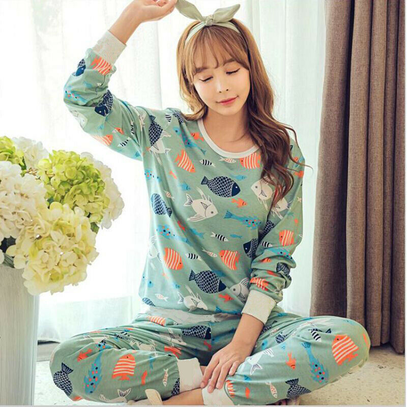 Button Front Pajamas for Girls Cute Cartoon Printed Cotton Sleepwears