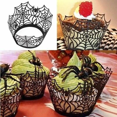 12Pcs* Black Halloween Spiderweb Witch Castle Cut Cupcake Wrappers Liners Great - Halloween Witch Castle