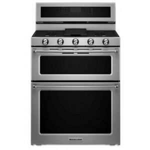 KitchenAid KFDD500ESS 30-Inch 5 Burner Dual Fuel Double Oven Con