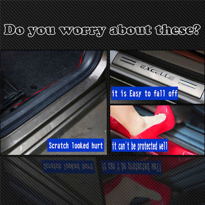 4x Anti-Kick 4D Carbon Fiber Car Accessories Door Sill Scuff Protector Stickers