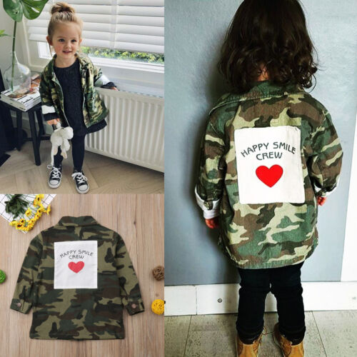 Details about Kids Girls Coat Camo Wind Outwear Jacket Clothes Autumn Winter Cute Baby Age 2 8
