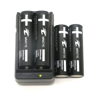 4Pcs Li-ion 3000mAh 18650 Battery with Charger 3.7V Rechargeable Batteries Pack