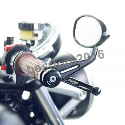 BLACK MOTORCYCLE HANDLE BAR END MIRRORS CNC ALUMINUM UNIVERSAL CAFE RACER BOBBER