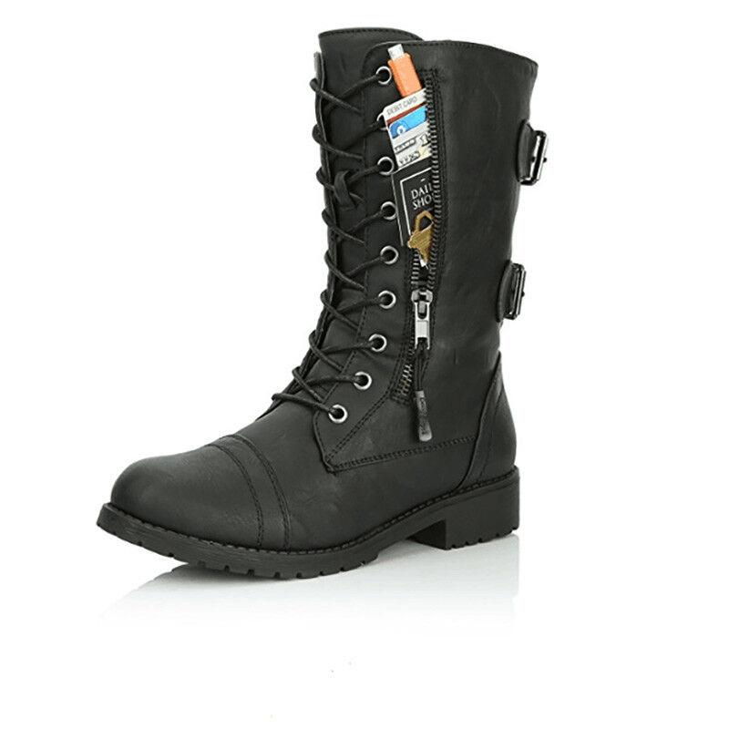 Womens Combat Boots Up Zipper Buckle Booties