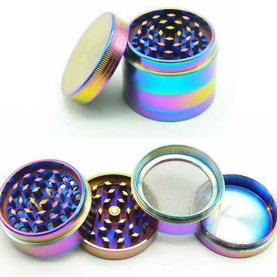 4 Piece 40mm Rainbow Stainless Steel Spice Herb Grinder Cylinder Tobacco Mill KY ()