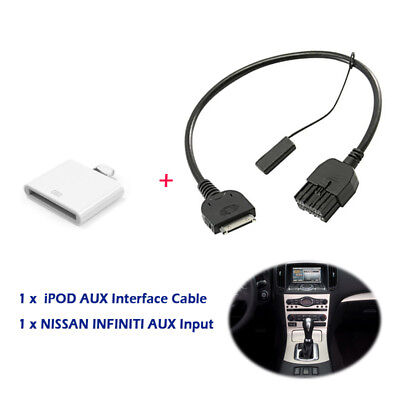 (AUX Input Adaptor Cable Fit For Nissan FrontierCube GT-R Infiniti FX50 2013 New)