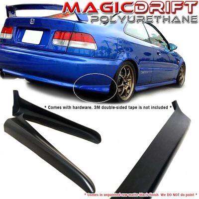 99-00 Honda Civic EK MU REAR Bumper Spats Caps Lip Body Kit Black PU - 99 00 Honda Civic Body