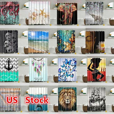 USA Waterproof Bathroom Shower Curtain Sheer Hanging Panel 180*180cm + Hooks Set