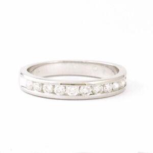 14k White Gold Channel Set Diamond Band Size 6.5 Estate #3817