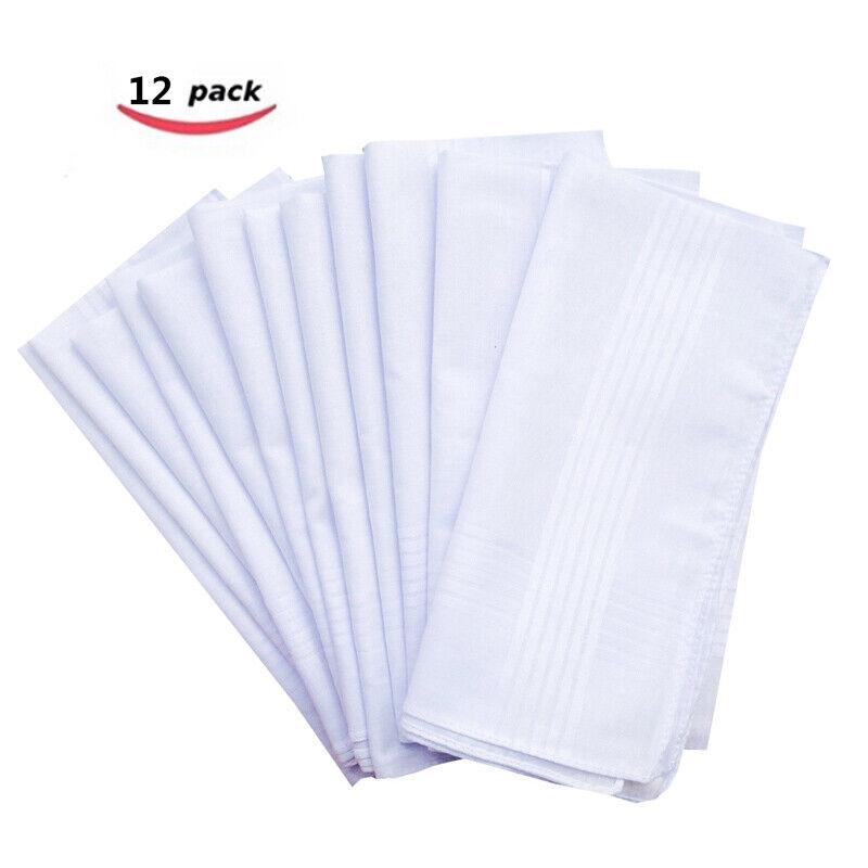 12 Pack Men Handkerchiefs White Cotton Hanky Pocket Square Hanky Vintage Lot Set