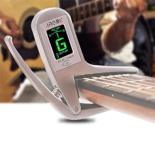 AROMA Guitar Digital LCD Clip-on Guitar Capo Tuner 2in1 Elec
