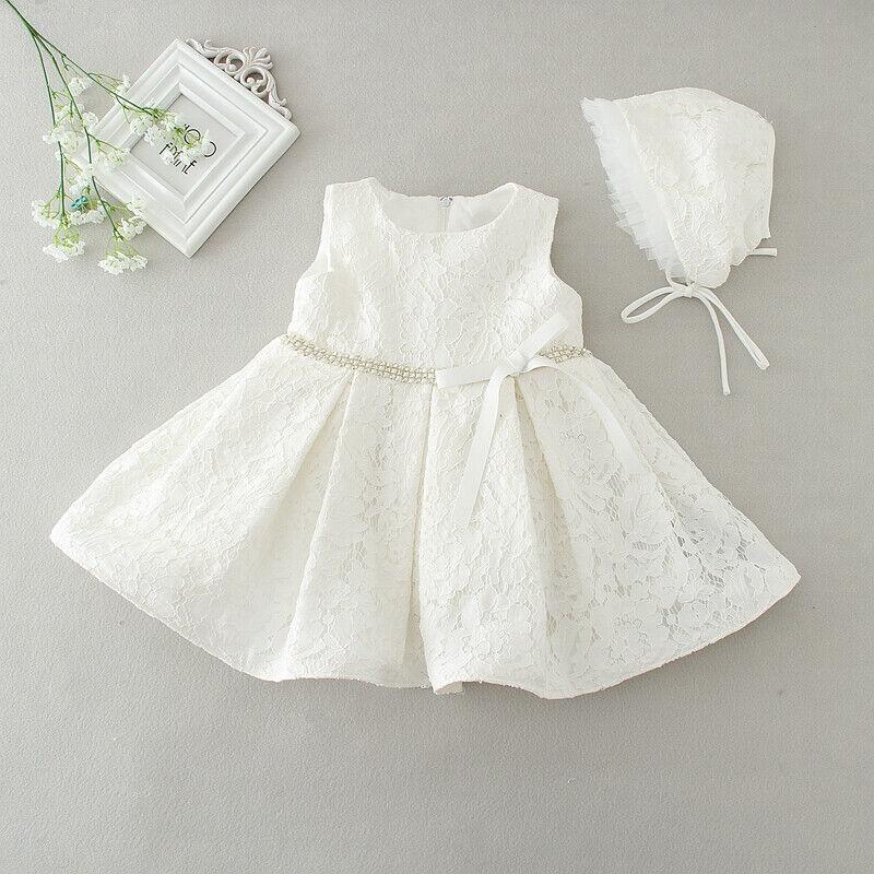 Baby Girls White Christening Party Wedding Dress