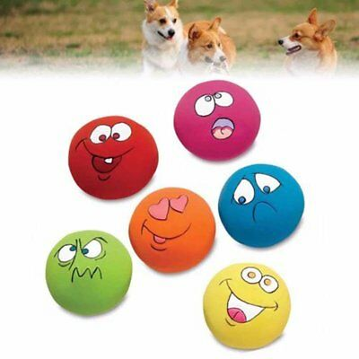 6PCS ZANIES LATEX DOG PUPPY PLAY SQUEAKY BALL WITH FACE FETCH TOY (Zanies Latex)