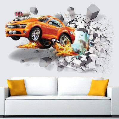 3D Super Car Crack Wall Stickers Children Kids Room Decals Removable Home - Car Room Decor