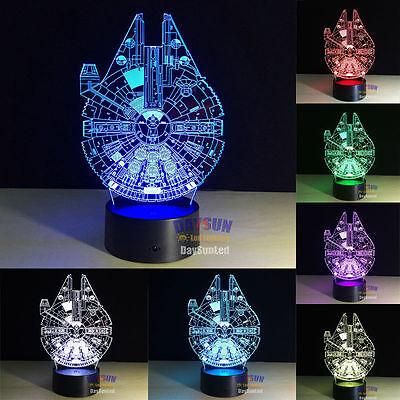 Millenium Falcon2 RGB LED Night Light Lampara Star Wars Creative USB Table Lamp segunda mano  Embacar hacia Argentina