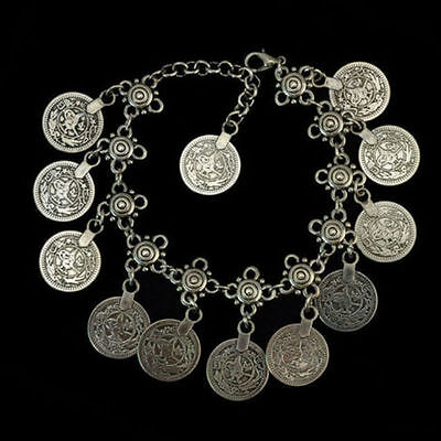 Silver Drop Coin ANKLET Barefoot Sandal Gypsy Bracelet Fashion Jewelry