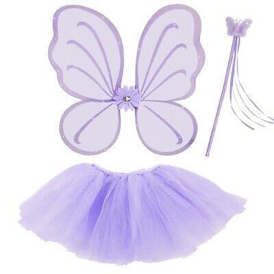 3tlg. Feen Kostüm Set Lila - Tüllrock Flügel Zauberstab - Schmetterling - Lila Schmetterling Kostüm Flügel