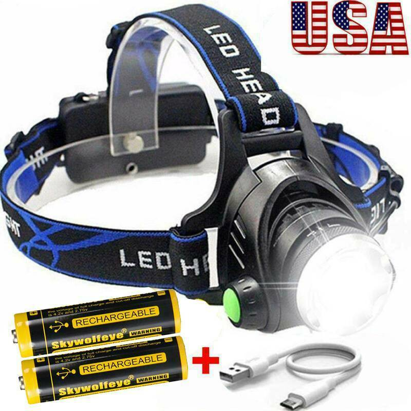 Tactical Rechargeable 350000LM T6 LED Headlamp Headlight Hea
