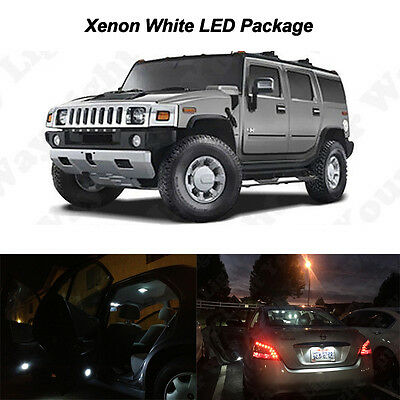 16 x White SMD LED Interior Bulbs + License Plate Lights For 2003-2009 Hummer H2