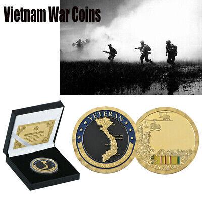 1959-1975 Vietnam War Veteran Gold Challenge Coin Souvenir Gift With The Box