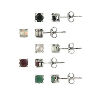 925 Silver 4mm Round Ruby, Sapphire, Emerald, Opal and Pearl Stud Earrings Set