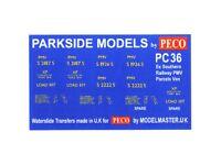 Transfers for ex S.R Model Masters MMPC36 /'PMV/' Parcels Van