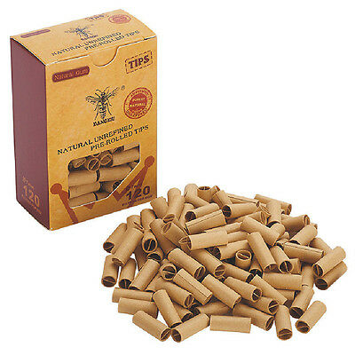 120X Pre Rolled Natural Unrefined Cigarette Tobacco Filter Rolling Paper Tip 7Mm