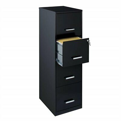 18 Deep Light Duty 4 Drawer Metal Letter File Cabinet In Black