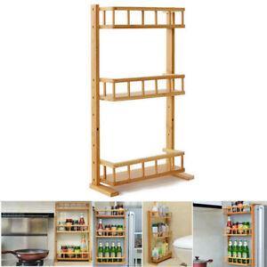 1X Wooden Spice Rack 3 Tier Wood Shelf Cabinet Door Wall Mount Storage Organizer