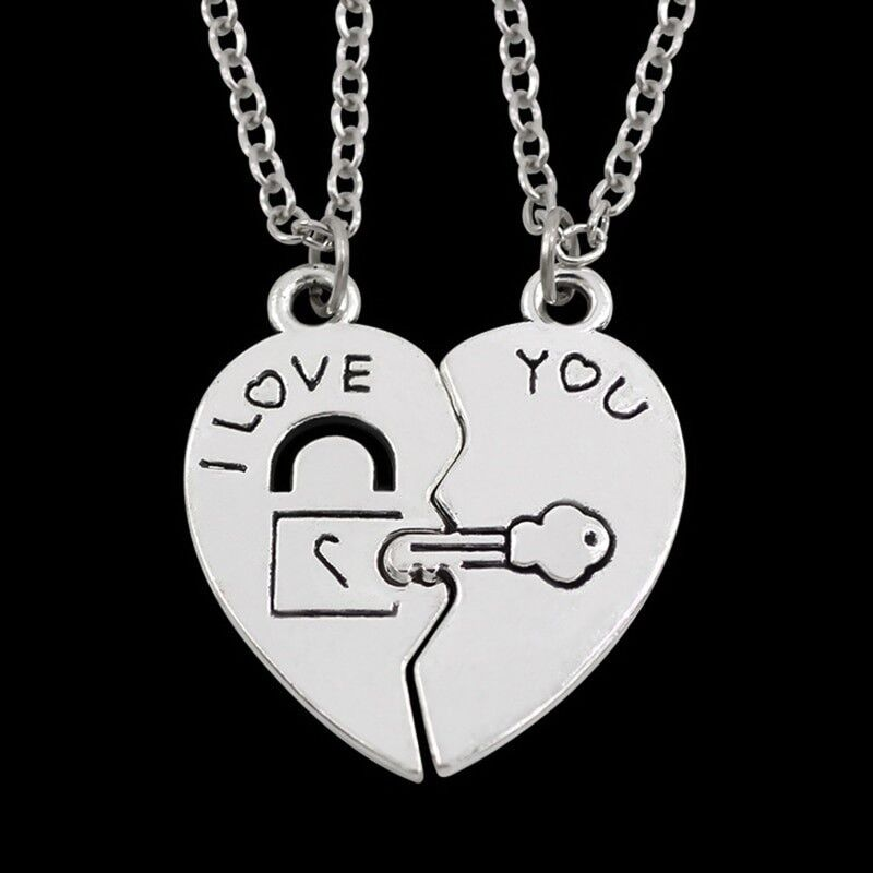 His & Hers Matching Couple Necklaces I Love You Lock And Key 2 Pcs Necklace Fashion Jewelry