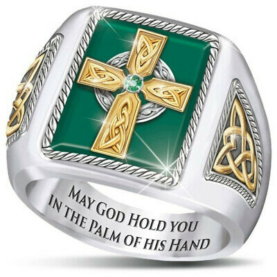 Religious 925 Silver Emerald Band Cross Ring Women Man Wedding Jewelry Sz 7-13 Emerald Religious Cross