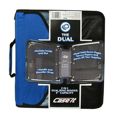 Case It Dual Ring Zipper Binder With Exterior Pocket Blue