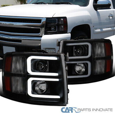 For Chevy 07-14 Silverado Pickup Black Smoke LED Tube Projector Headlights Pair