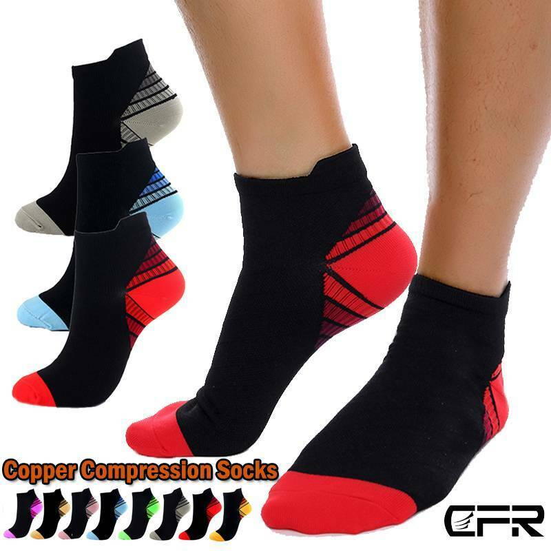 Copper Ankle Sleeve Compression Foot Socks Support Arch Heel