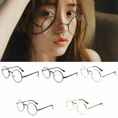 Round Clear Lens Glasses Eyeglasses For Women Men Retro Transparent Fake (Round Glasses Transparent)