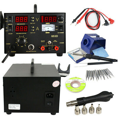 853d Smd Dc Hot Air Iron Gun Rework Power Supply 3 In 1 Soldering Station Welder