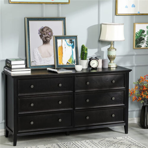 6 Drawer Double Dresser Black Wood